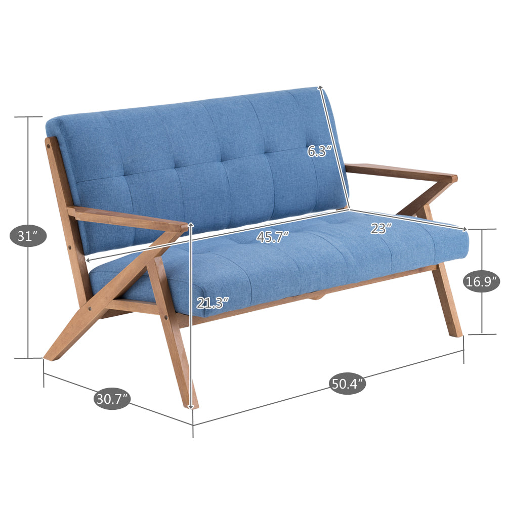 (126 x 85 x 82.5cm) Solid Wood K-type Retro Double Sofa Chair Light Blue | 12368217