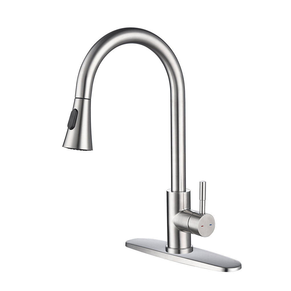 Single Handle High Arc Pull out Kitchen Faucet with Pull down Sprayer Stainless Steel Sink Faucet | 13185055