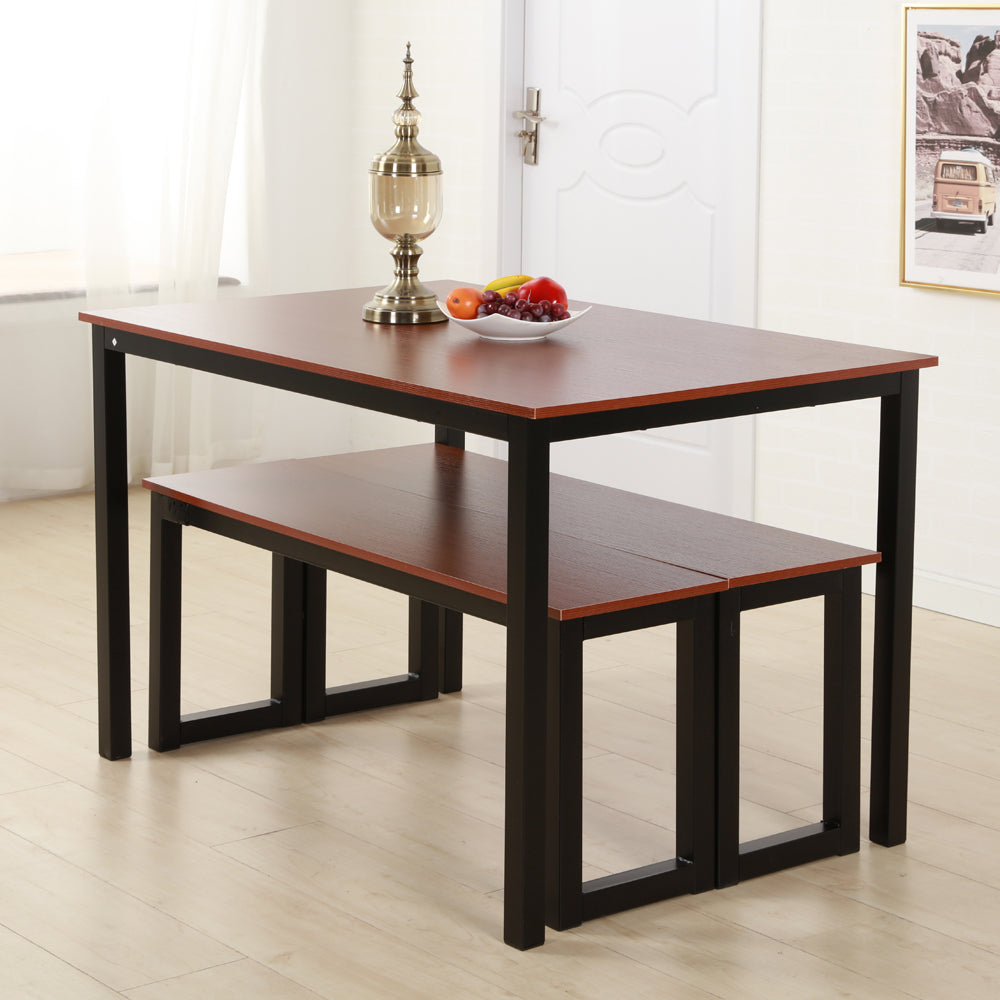 Simplistic Iron Frame Dining Table Teak Color  | 20610388