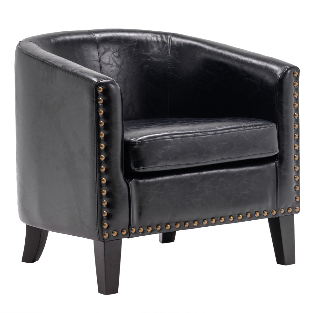 (73x64x70cm) Circle Chair Modern Minimalist Single Sofa with Copper Nail PU Black | 04228310