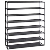 Simple Assembly 8 Tier Shoe Rack Detachable Non-Woven Waterproof Fabric Shoe Organizer Tower Space Saver Stackable Storage Shelf (Black)  | 28601592
