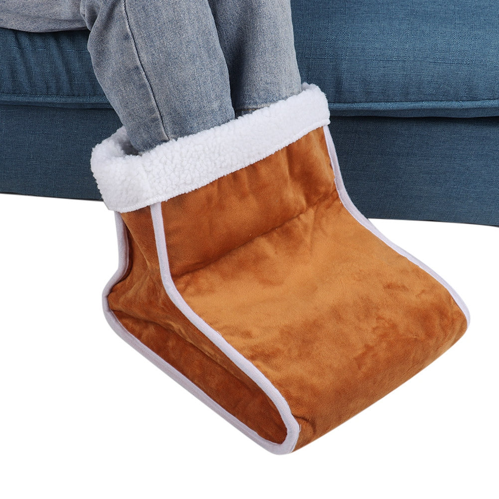 100-240V Electric Foot Warmer Detachable Feet Heating Boot Heater Shoes US Plug (Brown)  | 89752695