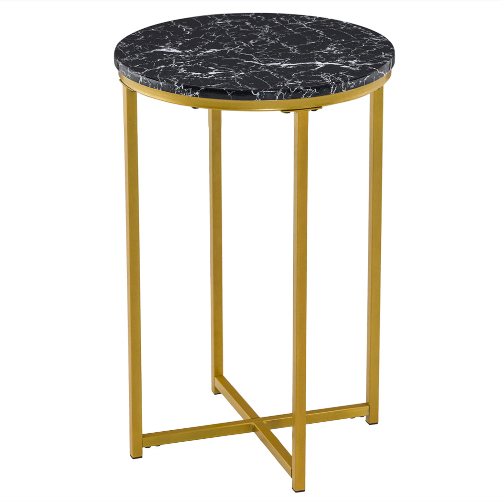 [40 x 40 x 60] cm Marble Simple Round Edge Table Black | 71554472