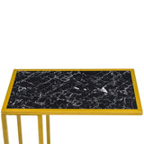 [30 x 48 x 61] cm Marble Simple C-shaped Side Table Black | 66242201