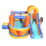 Inflatable Bounce House,Slide Bouncer with Basketball Hoop, Climbing Wall, Large Jumping Area, Ideal Kids Jumper | 80569215