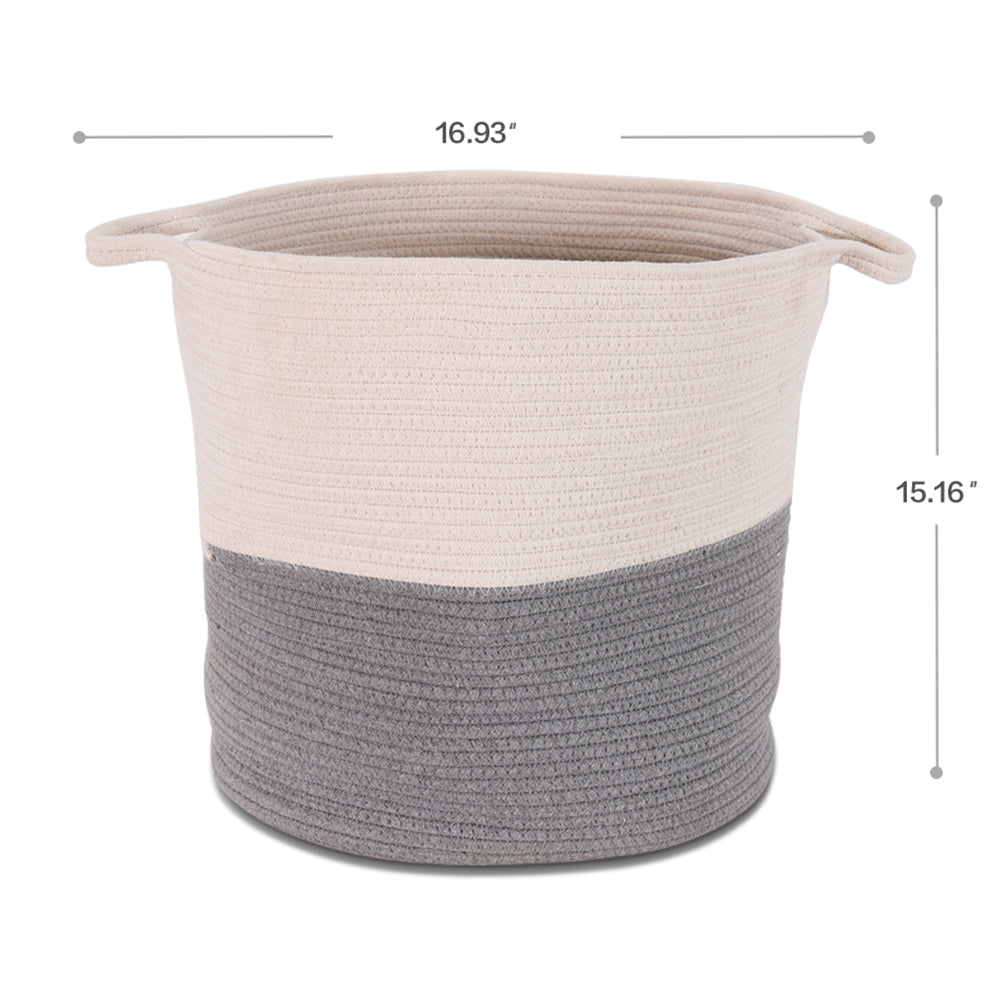 "17"" x 15.1"" Woven Rope Basket with Handles, Collapsible Laundry Basket, Cotton Storage Basket for Towels Blanket Toys 