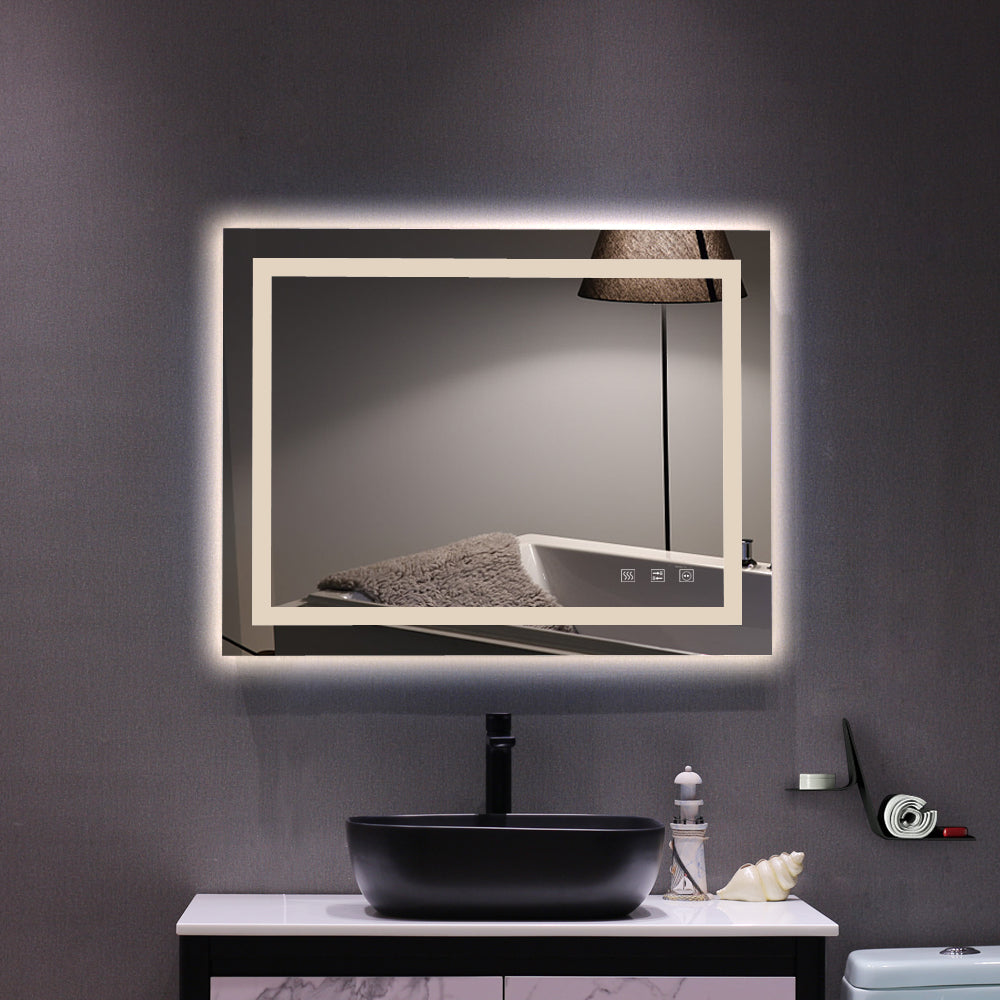 Square Touch LED Bathroom Mirror, Tricolor Dimming Lights-36*28"