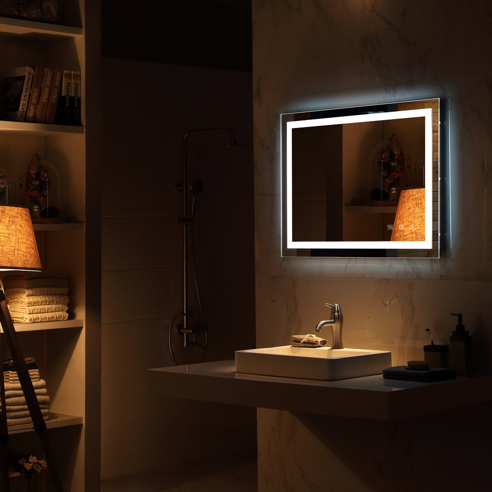 Square Touch LED Bathroom Mirror, Tricolor Dimming Lights40*24"
