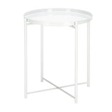 Artisasset Round Metal Countertop And Cross Base Wrought Iron Living Room Side Table Pearl White | 84787763