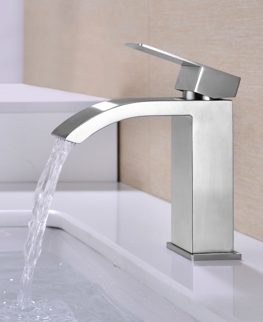 Single Handle Waterfall Bathroom Vanity Brushed Finish Sink Faucet with Extra Large Rectangular Spout | 42058108