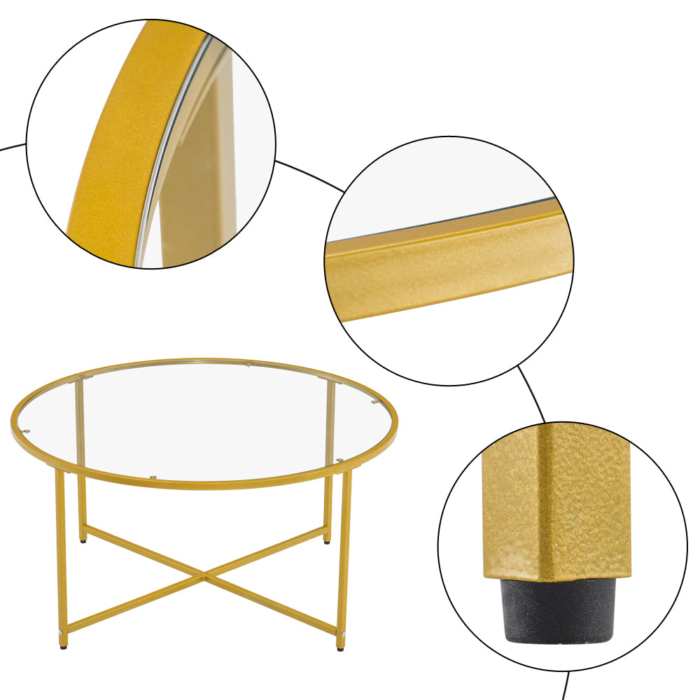 [90 x 90 x 45] cm Simple Cross Foot Single Layer Round Edge Table 90 Round Gold | 78847552