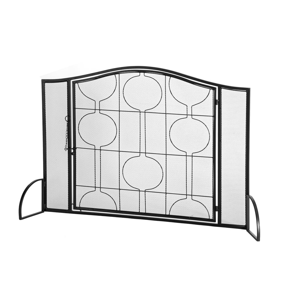 Artisasset Single Door Black Mesh With Geometric Pattern Grill Living Room Decoration Wrought Iron Fireplace Screen | 74219613