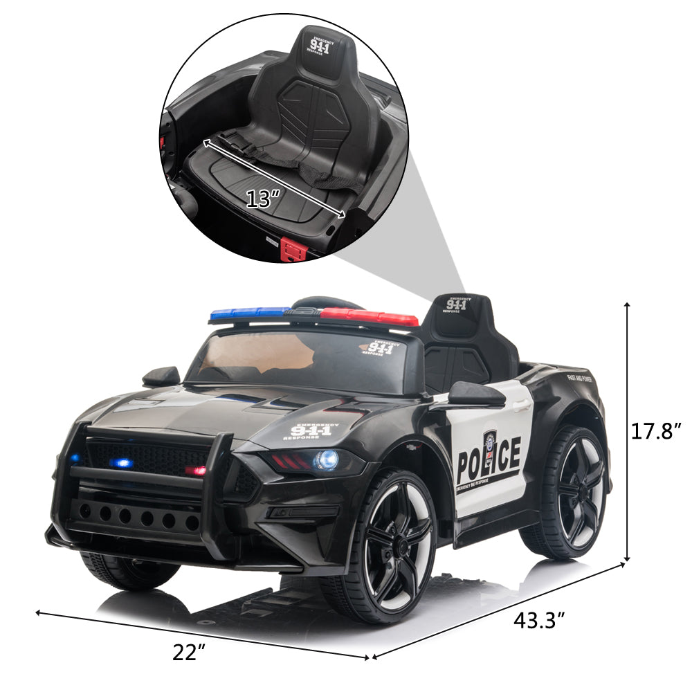12V Kids Ride On Car ,Police sports car,2.4GHZ Remote Control,LED Lights,Siren,Microphone,Black | 07479822
