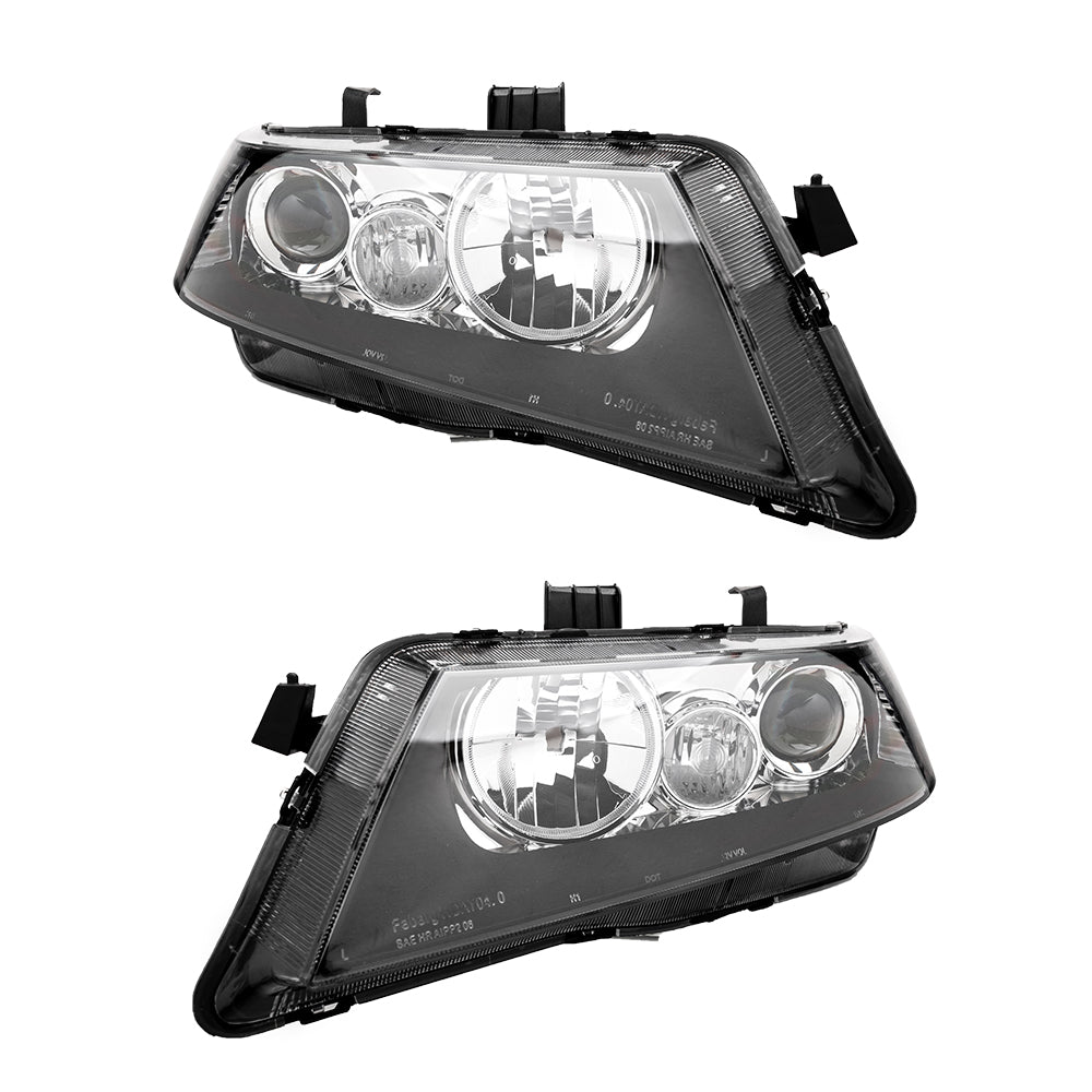 Set of (2) Headlights Halogen Factory Black Clear for 2004-2008 Acura TSX | 61955800