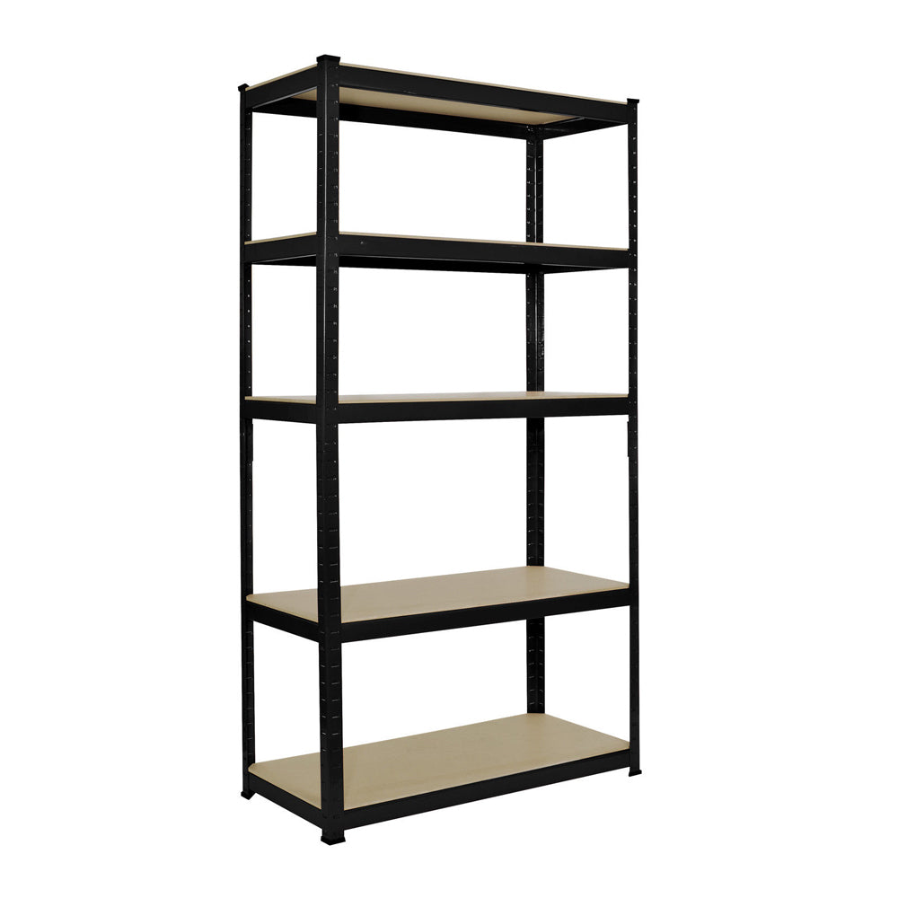 150 x 75 x 30cm 5 Tiers Powder Coated Storage Rack Black | 05615887