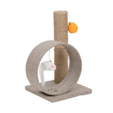 "13"" Cat Climb Holder Tower Cat Tree Linen Circular Ring with Toys Beige Brown 