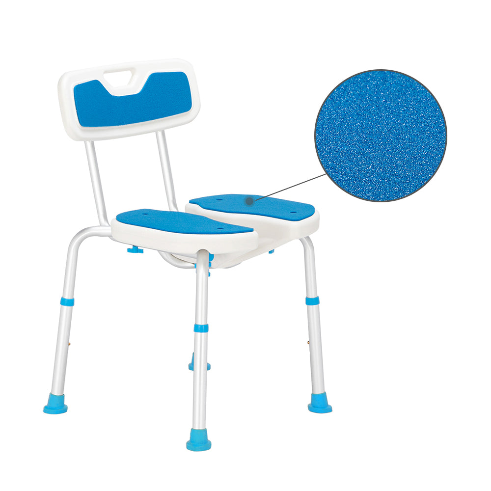 Aluminum Alloy Lifting Hollow Bath Chair 6-Speed / PE Stool / Rubber Foot Cushion / With Backrest Blue And White | 49492709