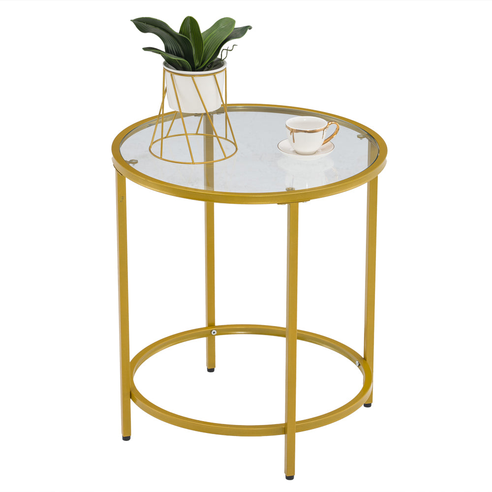 [50 x 50 x 55] cm Simple Single Layer Round Frame Glass Surface Coffee Table Side Table 50 Round Gold | 34487148