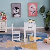 [59 x 40.5 x 59] cm MDF White Children's Study Table and Chair Set of 2 Can Open Drawers, 1 Table and 1 Chair | 65482871