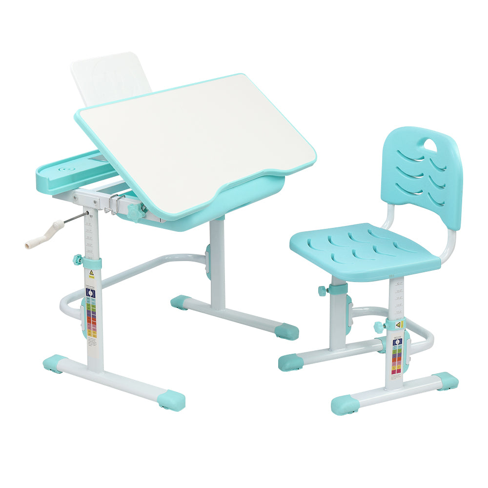 80Cm Hand-Operated Lifting Table Top Can Tilt Children's Study Table And Chair Blue- Green (With Reading Frame Without Lamp)  | 73907660