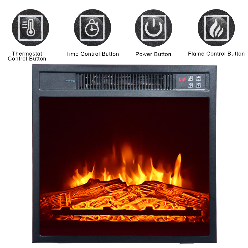 "ZOKOP SF103-18g HA203-32 32 ""Wood Brown Fireplace Cabinet 1400W Single Color / Fake Firewood / Heating Wire / With Small Remote Control Movement Black 
