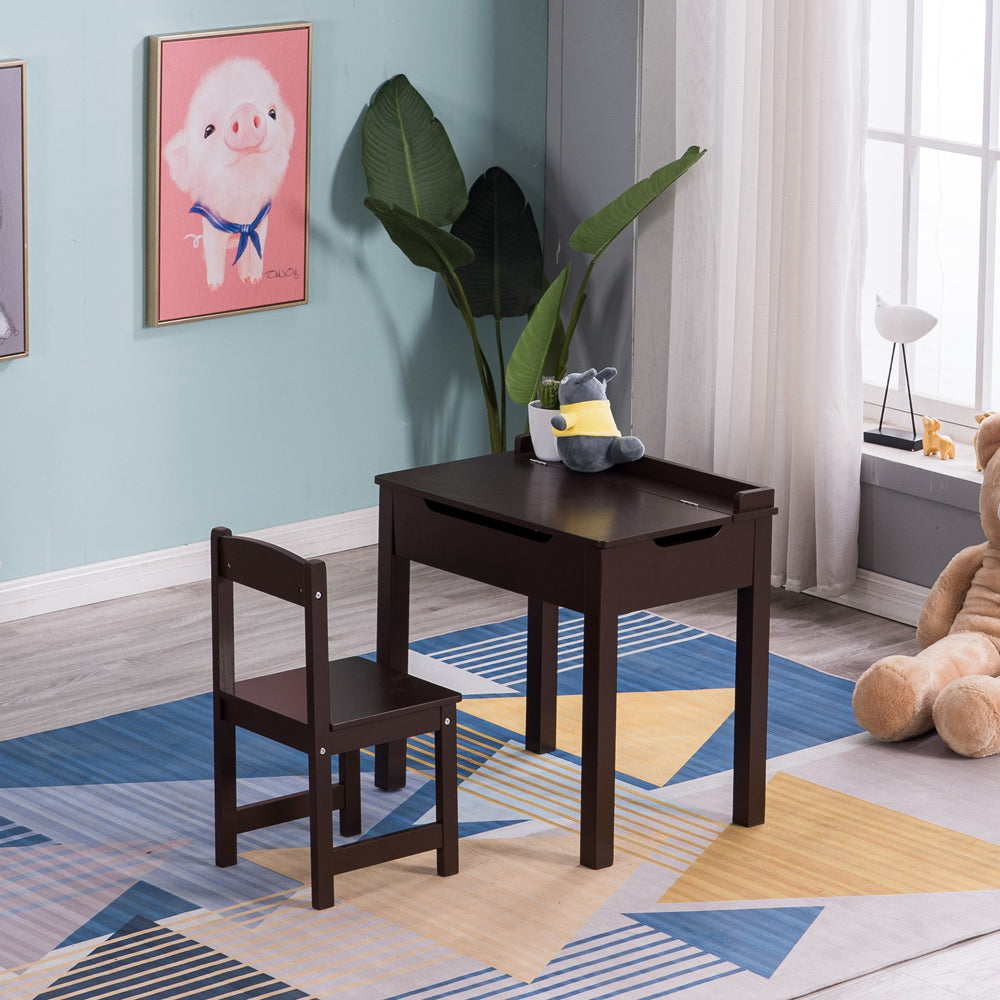 [59 x 40.5 x 59] cm MDF Children's Study Table and Chairs 2 Sets of Drawers Can Be Opened, 1 Table and 1 Chair Brown | 78494476