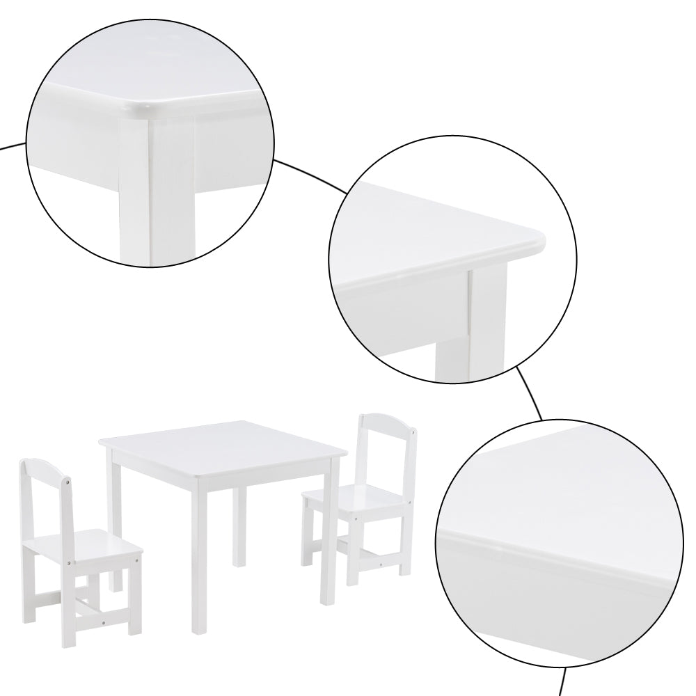 [60 x 60 x 52] cm MDF Simple Children's Table and Chair Set of 3 1 Table 2 Chairs White | 86648696