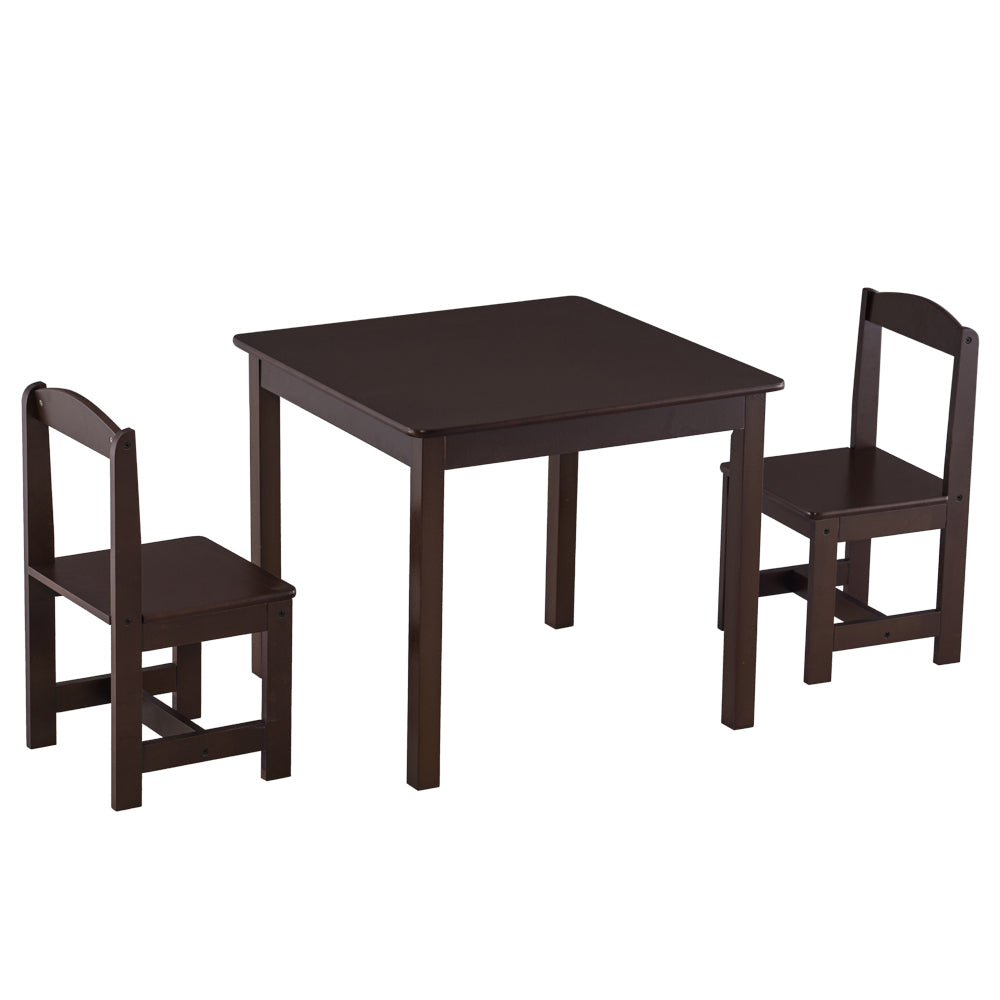 [60 x 60 x 52] cm MDF Simple Children's Table and Chair Set of 3 1 Table 2 Chairs Brown | 47126708