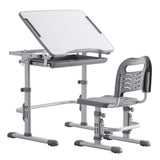 Student Desks and Chairs Set C Style White Lacquered White Surface Light Grey Plastic [70x38x(52-74) cm]  | 56558388