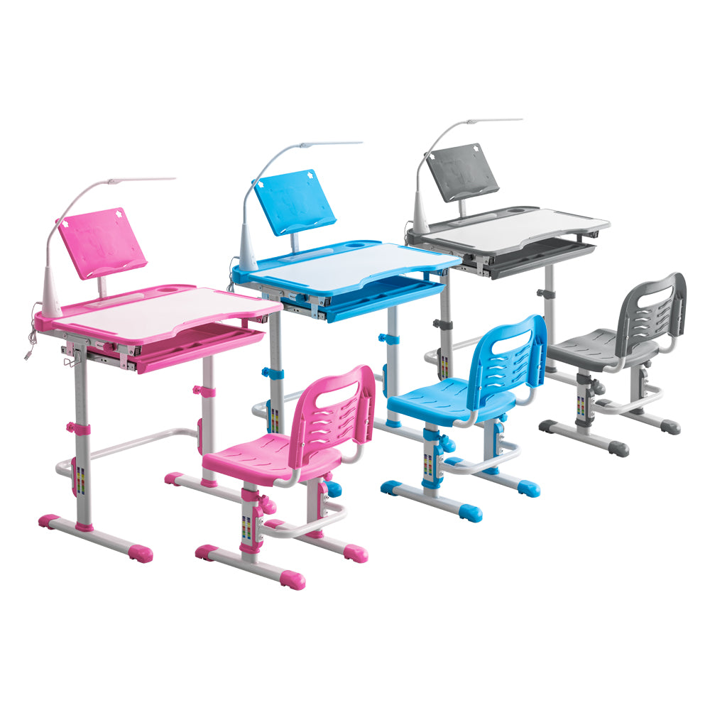 Student Desks and Chairs Set C Style with Light White Lacquered White Surface and Light Gray Plastic [70x48x(52-74) cm]  | 53713397