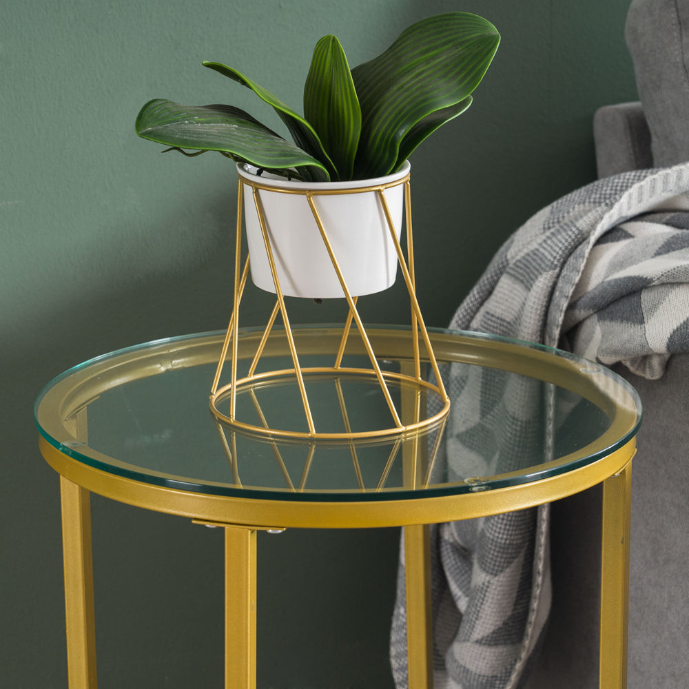 [40.5 x 40.5 x 61] cm Simple Cross Foot Single-Layer Glass Round Edge Table 40.5 Round Gold | 11327819
