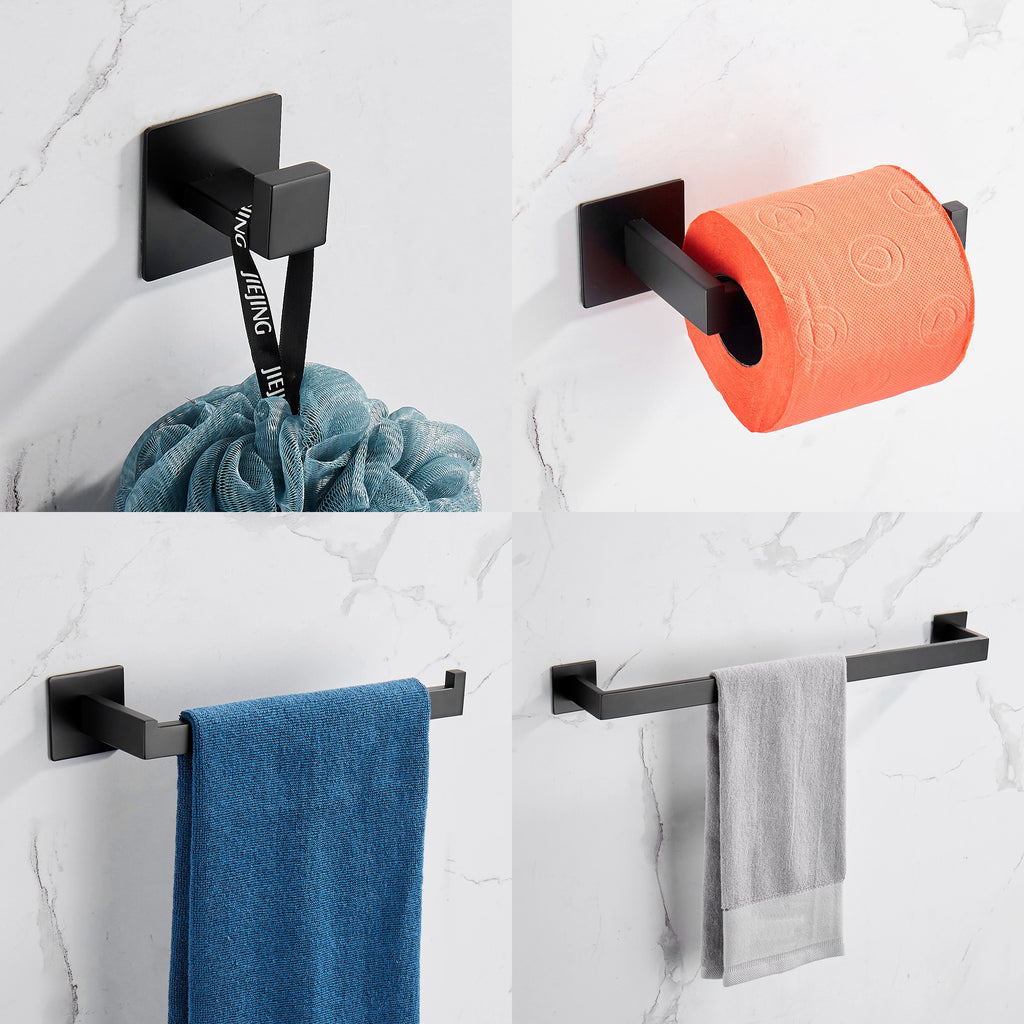 Strong Viscosity Adhesive Bathroom Accessories Set Without Drilling Matt Black Towel Bar Holder Rack Robe Hook Tissue Toilet Paper Holder Rustproof 304 Stainless Steel KJ715PRO-4HEI | 40706448