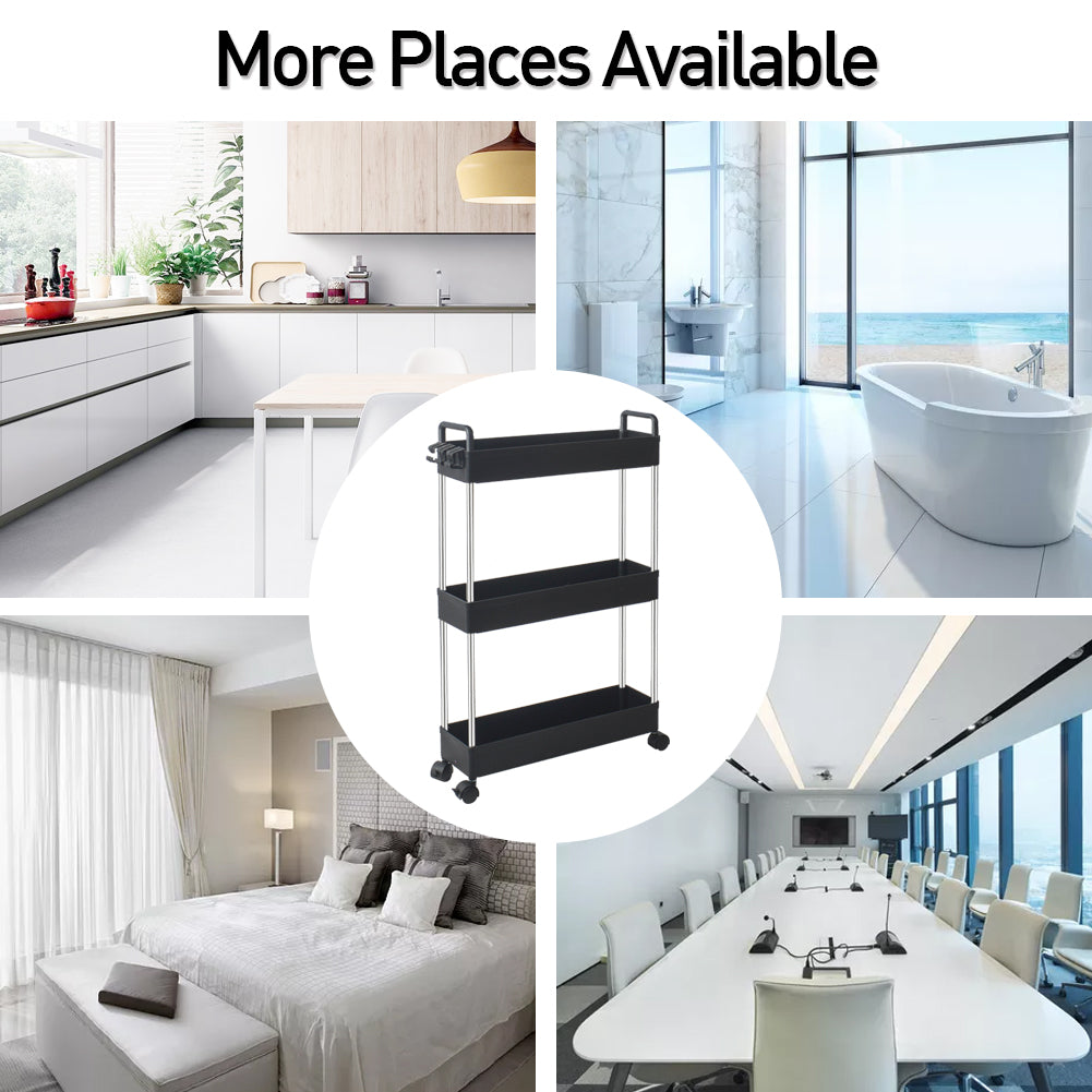 Slim Storage Cart with Handle, 3 Tier Bathroom Organizers Slide Out Storage Shelves Mobile Shelving Unit Organizer Rolling Utility Cart with Casters Wheels for Bathroom Kitchen Laundry Narrow Places | 85748620