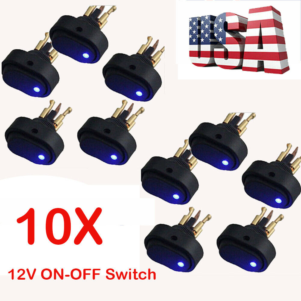 10* 12V 30Amp 30A Heavy Duty Blue LED ON-OFF Rocker Switch Car Boat Marine 2020