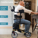 "HFK-9223 Upright Walker, Stand Up Folding Rollator Walker with 10"" Front Wheels Backrest Seat and Padded Armrests for Seniors and Adults"
