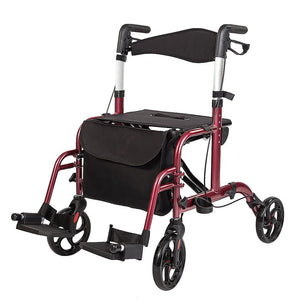 Medical Transport Chair, Foldable Rollator Walker with Detachable Footrests by Elenker™
