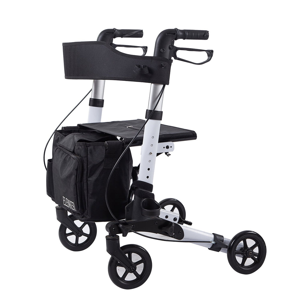 HFK-9202D Medical Rollator Walker,Foldable Stable Compact Rolling Walker with Seat,Detachable Storage Bag Lightweight , White