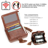 APHISON Womens RFID Wallet with Tassel PU Leather purse Zippers  Credit Card Case wallet T5892