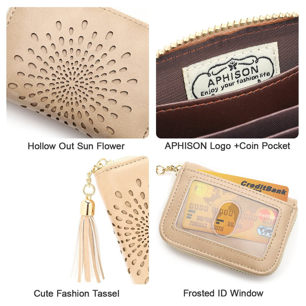 APHISON RFID Credit Card Holder Wallets for Women Leather Zipper Card Case Sun flower style 1927