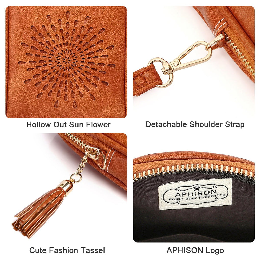 APHISON Small Crossbody Cell Phone Purse for Women Mini Messenger Shoulder Bag Wallet with Credit Card Slots 090-1