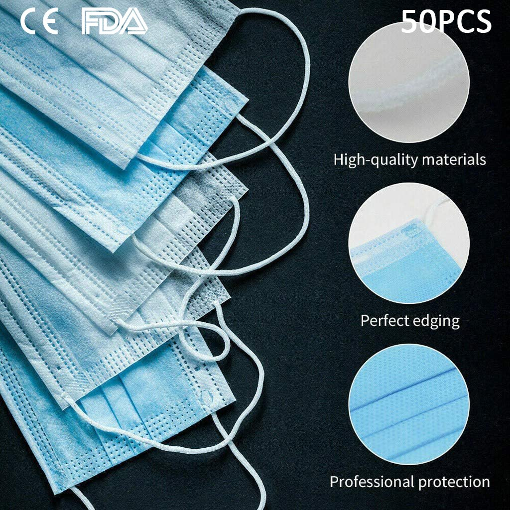 50 x Elenker 3 Ply Professional Surgical Face Mask with Elastic Tie-on