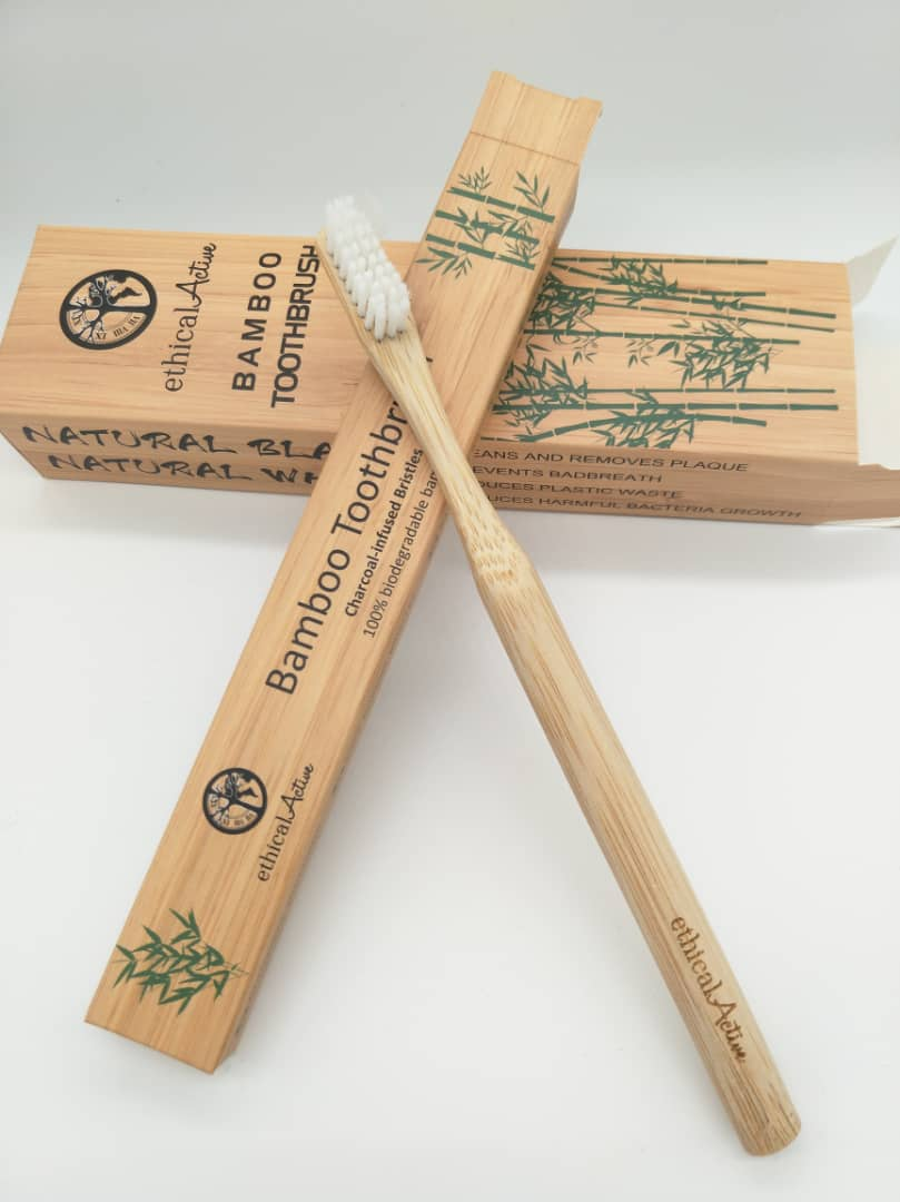 Eco Bamboo Toothbrush- Single White or Black bristles