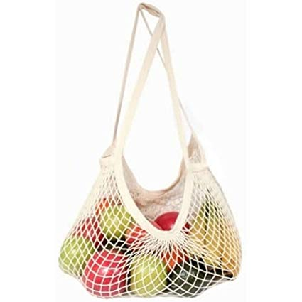 Organic Cotton Mesh Shopping Bags- Long Handle