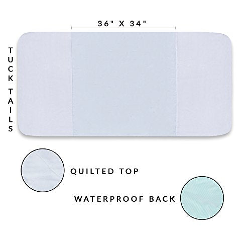 "Saddle Style Reusable Waterproof Bed Pad Made in America 34"" X 36"" Pack of 2"