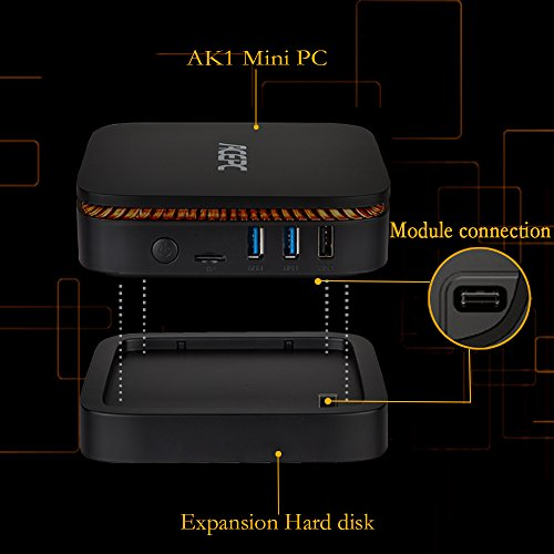 "AK1 Pro Mini PC,Intel Celeron Processor J3455 (Up to 2.3 GHz) Window 10 Pro (64 bit) Desktop Computer [4GB/32GB/2.5"" SSD Expansion Box Supplied/Gigabit Ethernet/Dual Output/Dual-Band WiFi/4K]"