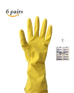 "6 PAIRS-Reusable (18 Mil Thick)-Medium-Household Cleaning Gloves/ Latex Rubber Gloves Multi-Purpose Used- Kitchen Cleaning, Painting,Dishwashing, Pet Caring-12""Lenght -Bonus Starryshine Alcohol Pads"