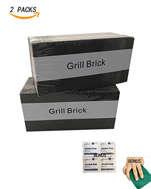 "2 Packs-8""x 4""x 3 1/2""Grill Cleaning Brick, Grilling Stone Cleaner--Descaling /w 1BBQ Block Construction, Removes Encrusted Greases,Stains Residues,Dirt (EZ-5 Scouring Pad /w Alcohol Pads Included )"