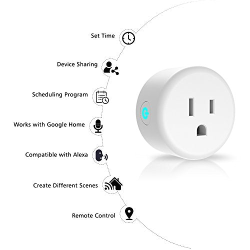 Anbes Smart Plug, WiFi Plug Wireless Mini Outlet Socket Work with Amazon Alexa,