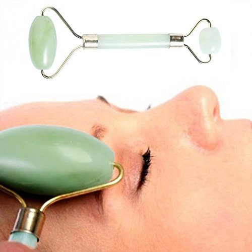 Jade Roller For Face - Facial Massager Skin Roller With Double Natural Jade Face