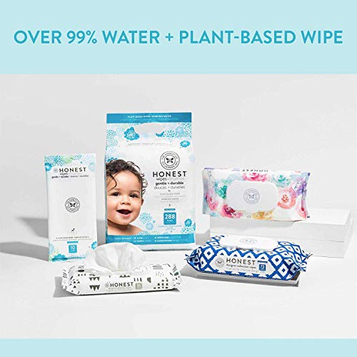 The Honest Company Baby Wipes, Pattern Play Over 99% Water Pure and Gentle Plant-based Fragrance Free Extra Thick and Durable Wet Wipes 576Count